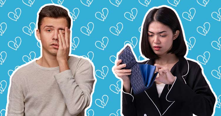man and woman worried with broken heart pattern
